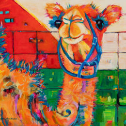 painting of camel on canvas