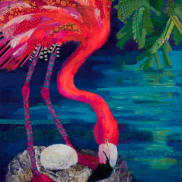Feathers of Fucshia set in deep blue water near Mangrove created in open studio paintings sessions