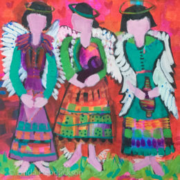 "Three angels in process for a workshop, 12"" X 12"" Acrylic, Linda Hendrickson"