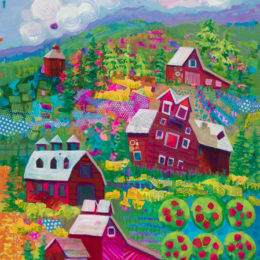 Barns in a Topsy-Turvy landscape, colorful and evocative of happy childhood playtimes.